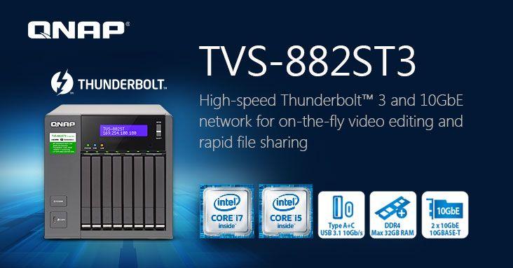 """QNAP lança TVS-882ST3, um NAS Thunderbolt 3 de 8 baías de 2,5"""""""