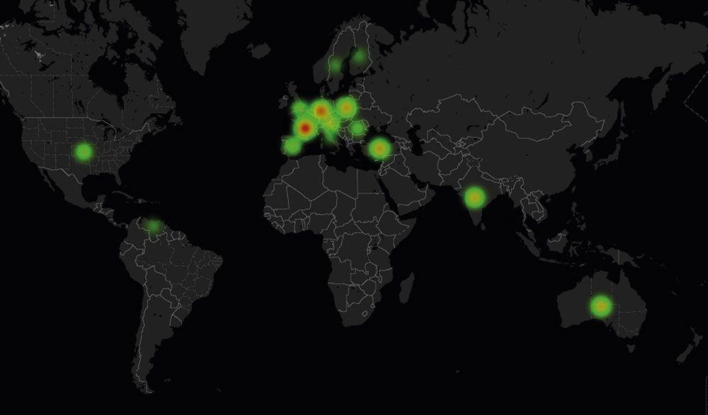 Gráfico com países alvo de ataque