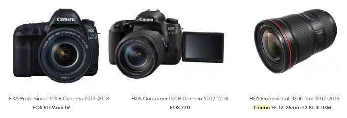 Prémios EISA 2017 reconhecem a Canon como líder de classe