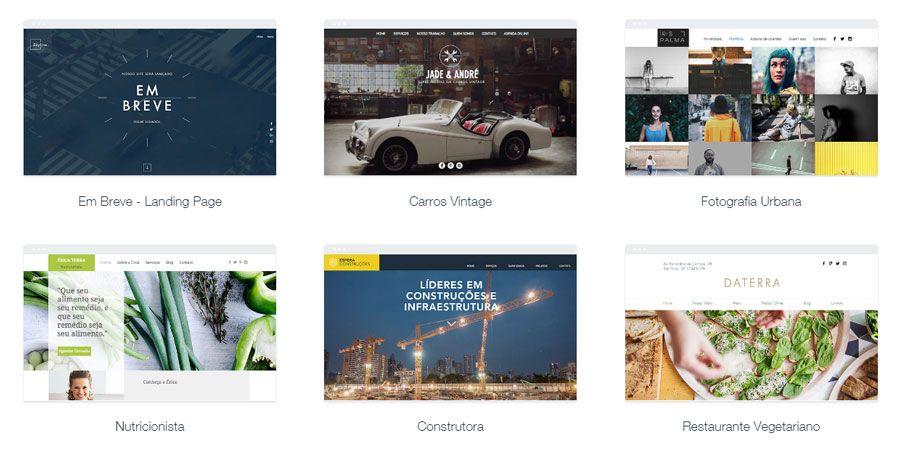 exemplos de templates para criar um site