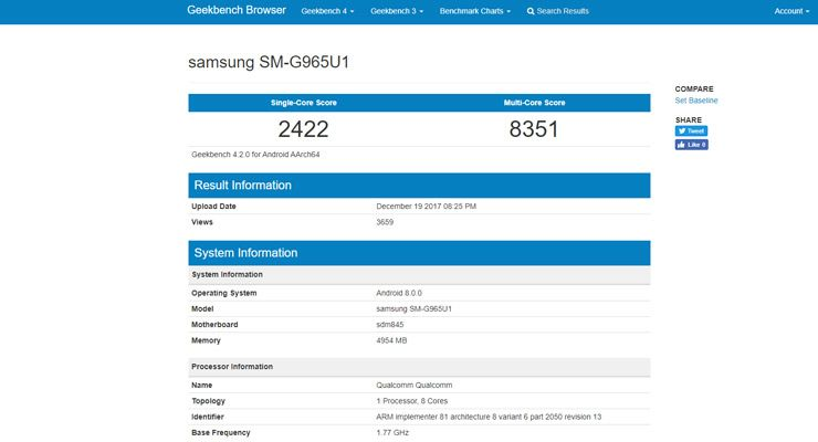 Galaxy S9 plus Geekbench