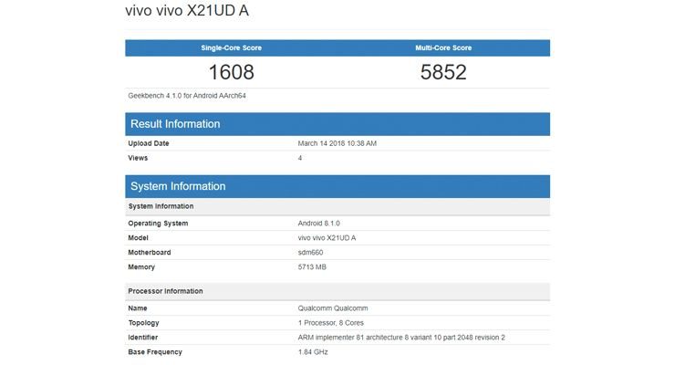 Vivo X21 GeekBench