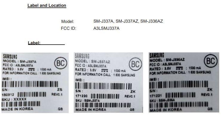 Samsung Galaxy J3 FCC