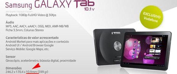 primeira versão do Galaxy Tab 10 1 à venda em Portugal