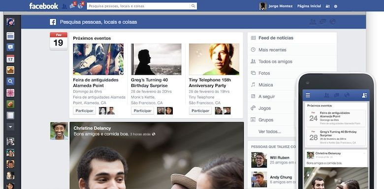 novo visual facebook