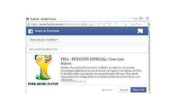 página falsa no Facebook de apoio ao jogador Luis Suàrez