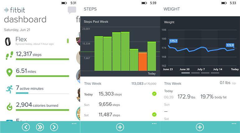 Exercício e saúde com a App Fitbit para Windows Phone