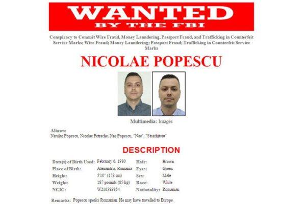Nicolae Popescu é um dos 10 ciber fugitivos mais procurados pelo FBI