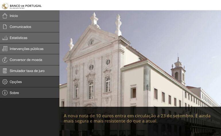 aplicação Banco de Portugal