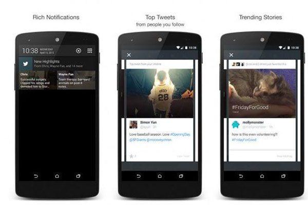twitter actualização android highlights