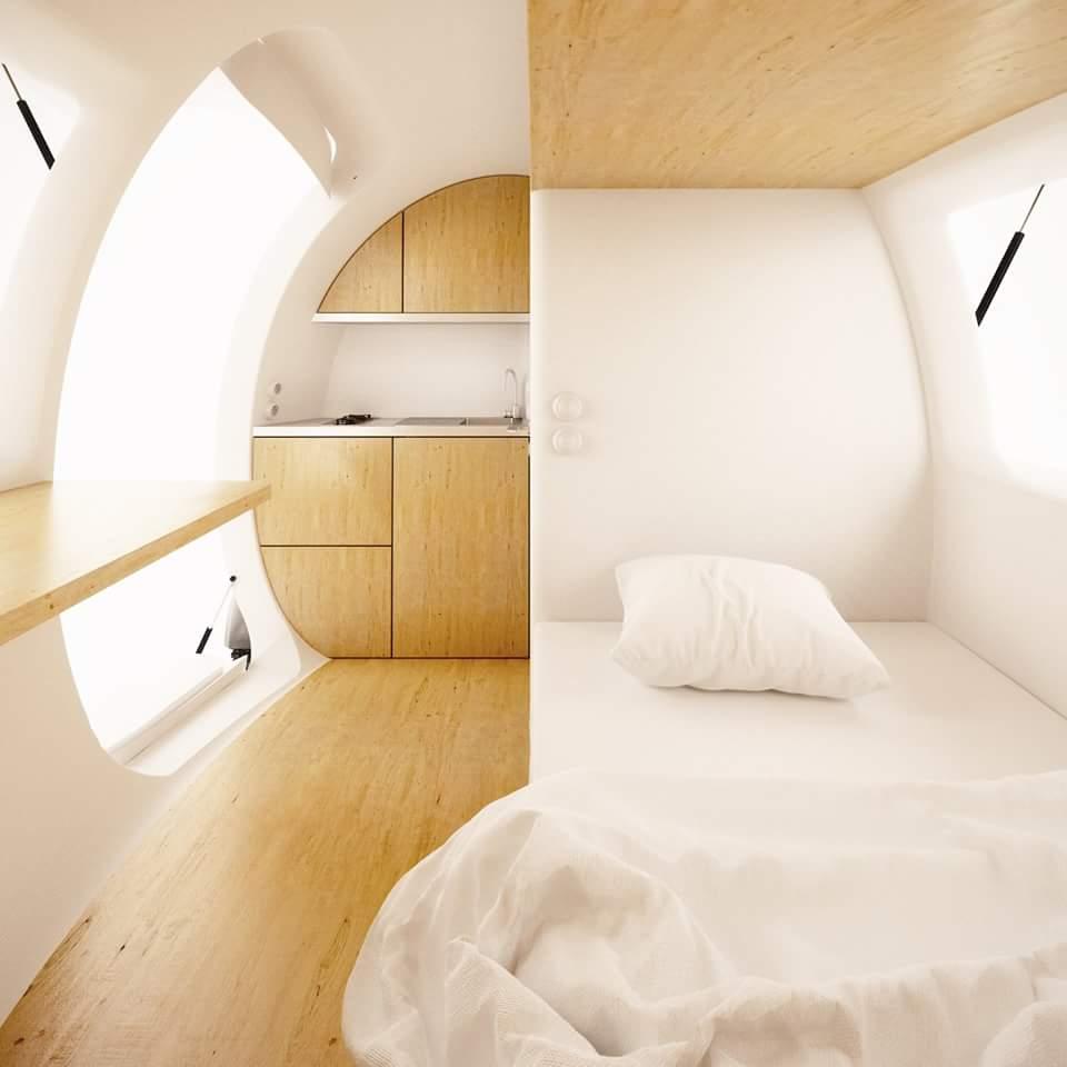 Ecocapsule interior 2 casa, eco-eficiente, Ecocapsule, ecológica, painéis solares, sustentável, turbina eólica