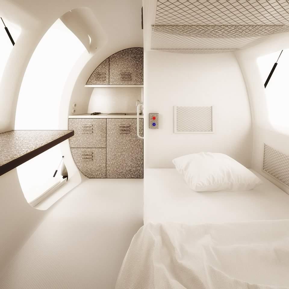 Ecocapsule interior casa, eco-eficiente, Ecocapsule, ecológica, painéis solares, sustentável, turbina eólica