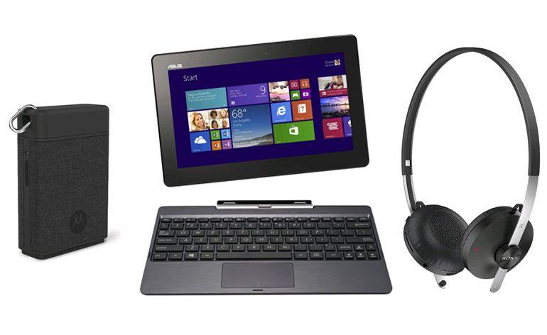 Portátil ASUS Transformer Book, os Auscultadores Sony SBH60 e a Micro Bateria Externa Motorola Power Pack.