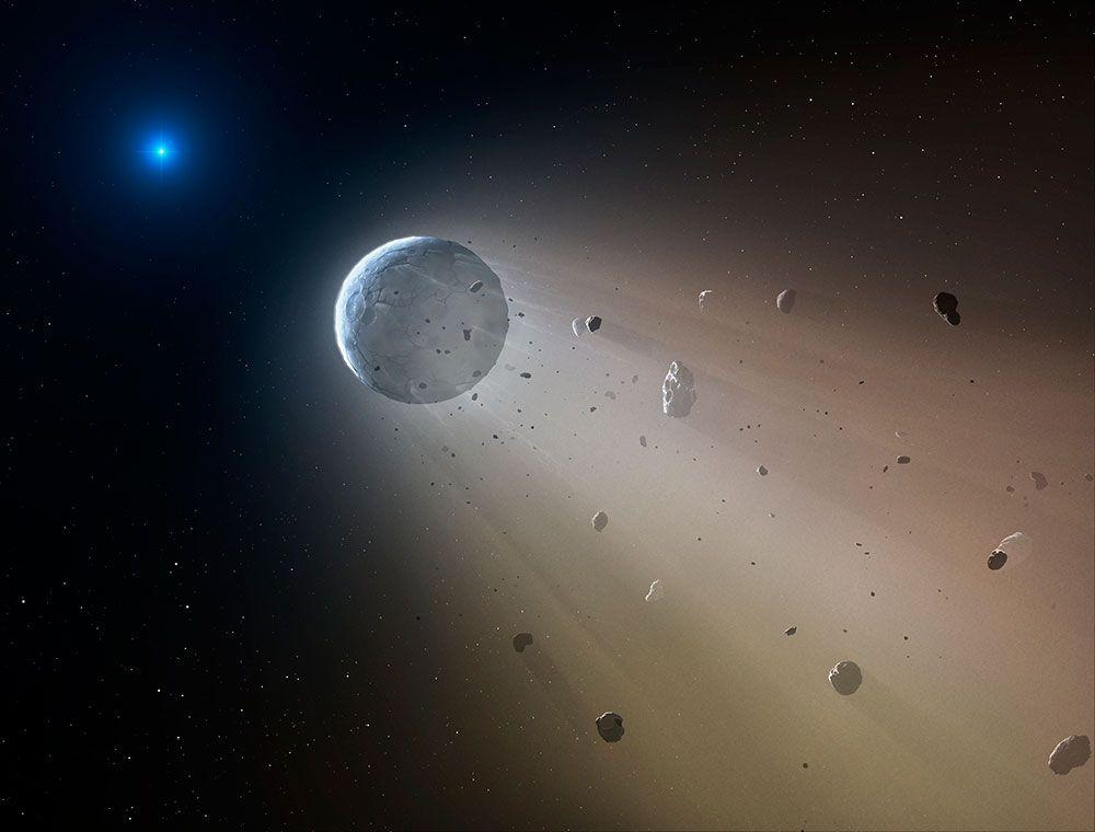 A desintegração do planeta pela ação de uma estrela em vias de se apagar.