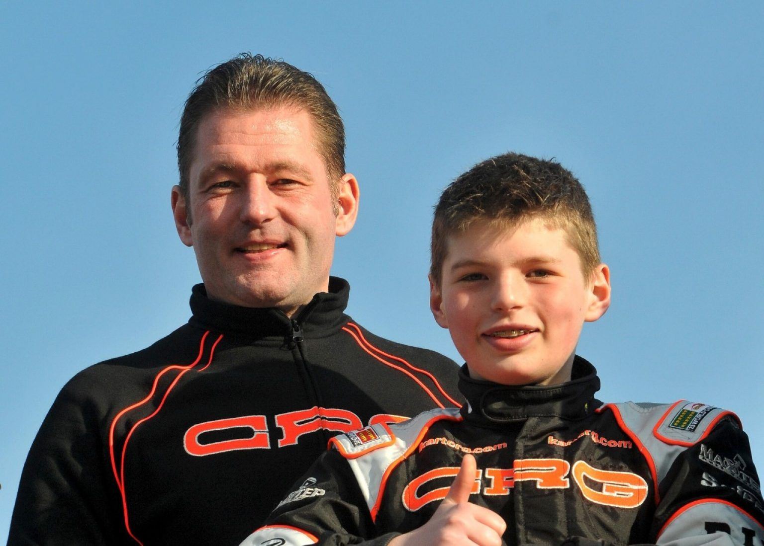 Max Verstappen NDL CRG right son of Jos Verstappen NDL left finished second in the 2010 Winter Cup. 15th Winter Cup South Garda Karting Lonato Italy 19 21 February 2010.