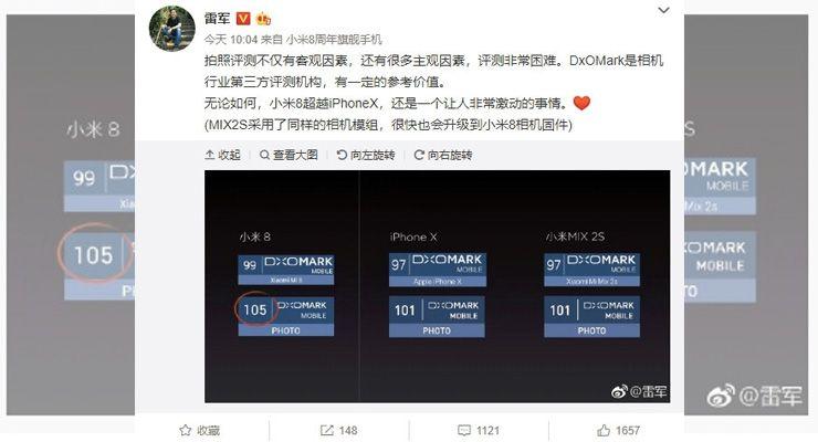 Xiaomi Mi Mix 2S dxomark