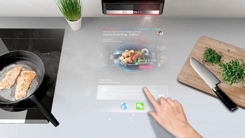 O PAI é um projetor da Bosch que é montado sobre o balcão da cozinha, transformando toda a bancada numa tela sensível ao toque
