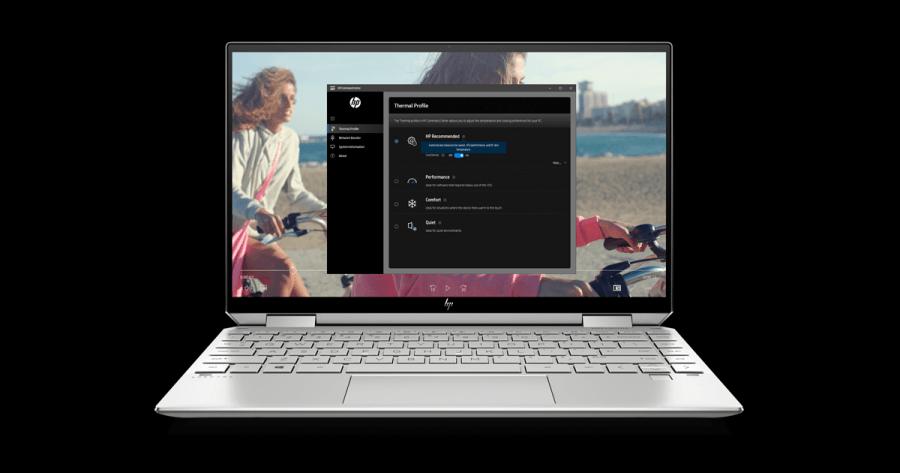HP Spectre x360 13 NaturalSilver FrontOpen HP Command Center