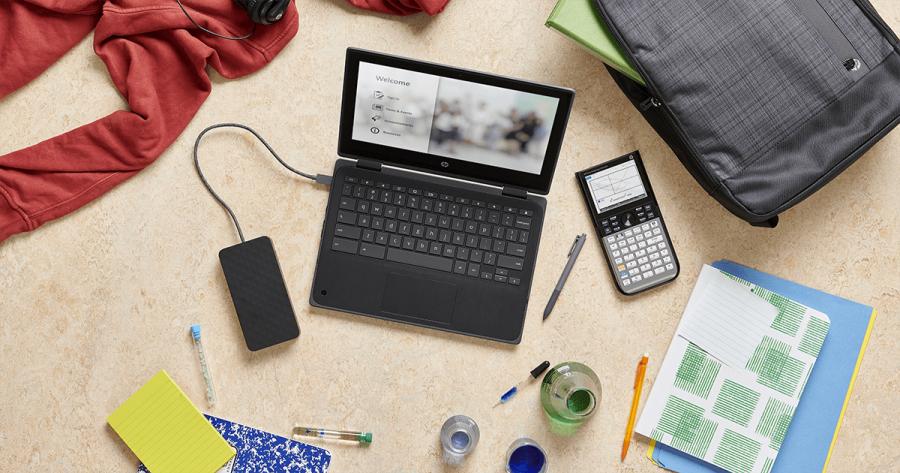 HP Chromebook 11 x360 G3 EE Classroom Flatlay
