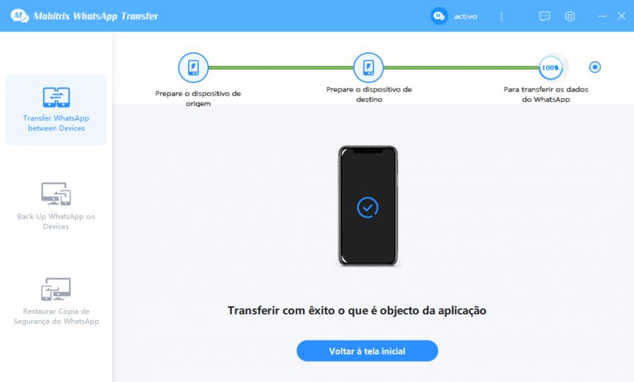 Mobitrix: terceiro passo para transferência de arquivos WhatsApp