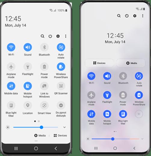 O Quick panel foi melhorado na versão One UI 3