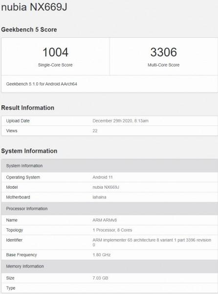 Nubia Smartphone com Snapdragon 888 Geekbench