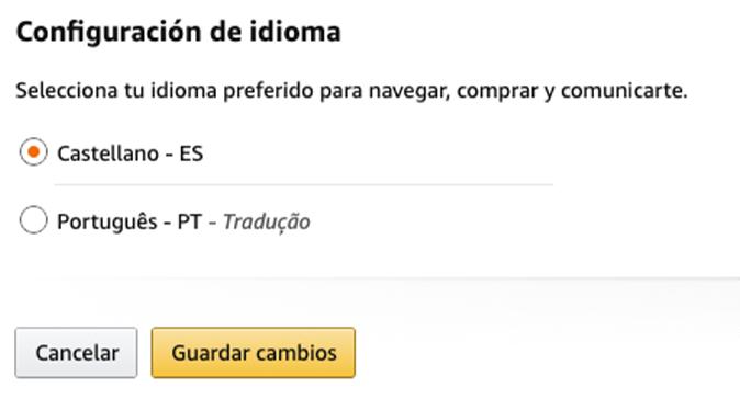 Amazon Espanha com tradução para Português de Portugal