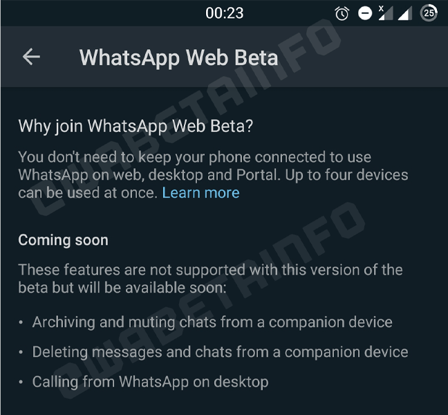 WhatsApp Web BETA chamadas