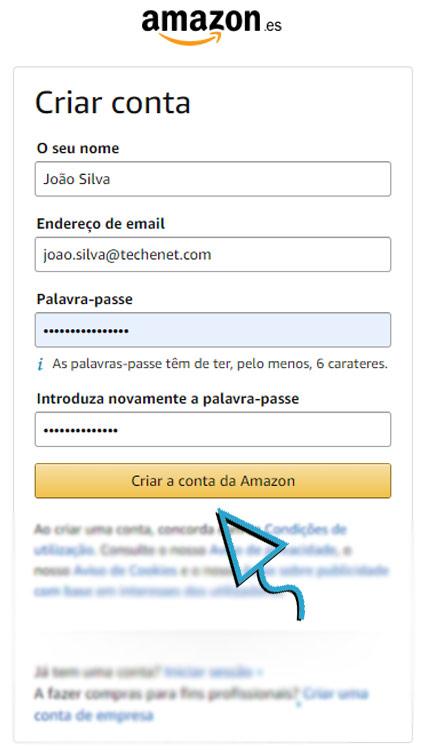 AmazonConta1 Amazon em Portugal, amazon es, amazon espanha, amazon portugal, como comprar na amazon, comprar na Amazon, compras online, Portugal, tutorial