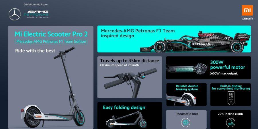Xiaomi Mi Electric Scooter Pro 2 Mercedes-AMG Petronas F1 Team Edition Trotinete Elétrica
