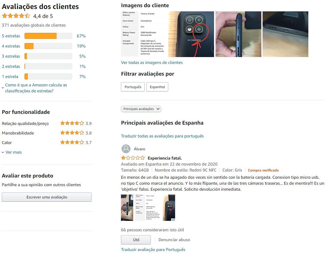 Amazon ES avaliação de produtos