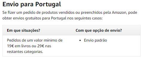 Amazon Espanha envios grátis para Portugal