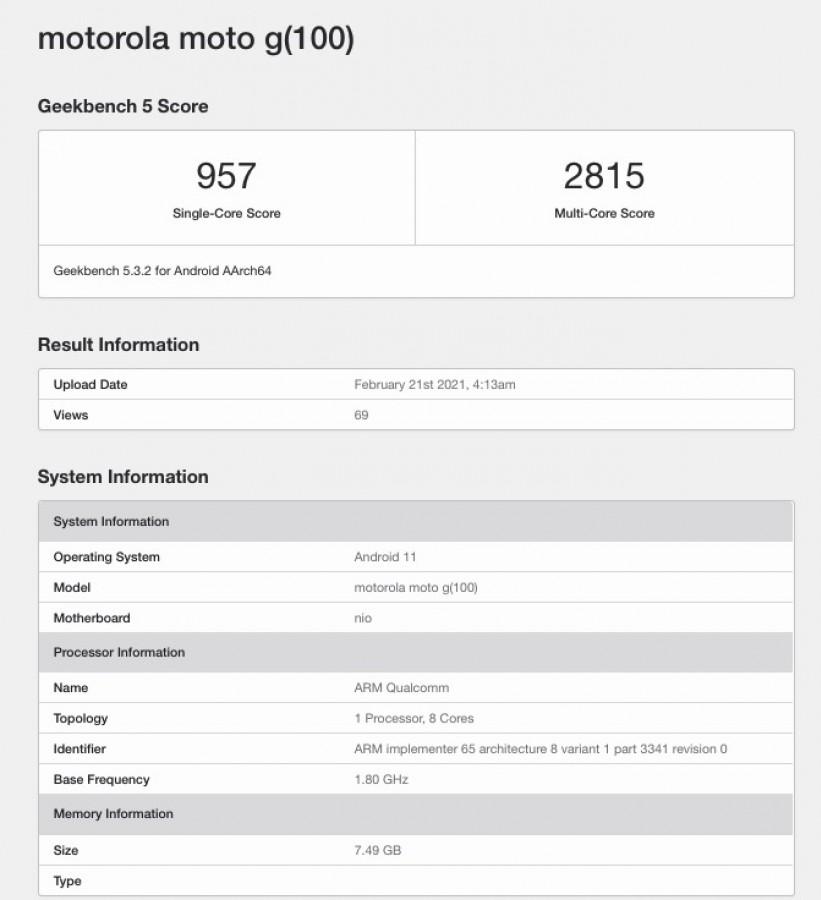 Motorola Edge S Snapdragon 870 5G Motorola G100