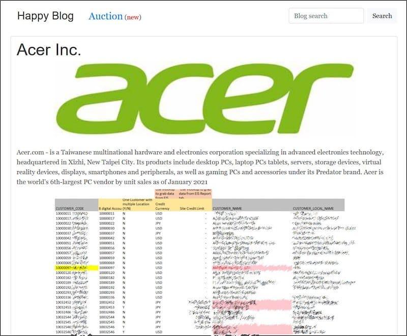 Ransomware na Acer: o grupo REvil parece ter conseguido explorar uma vulnerabilidade do Microsoft Exchange e encetado um ataque cibernético contra a Acer.