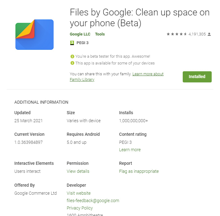 Google Files Play Store
