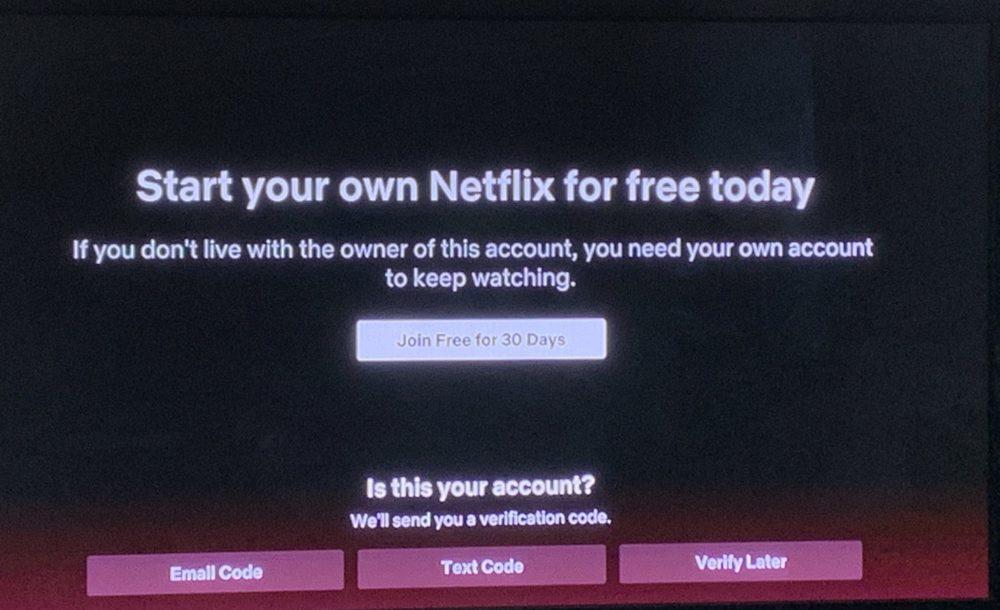 Netflix aviso partilha de conta