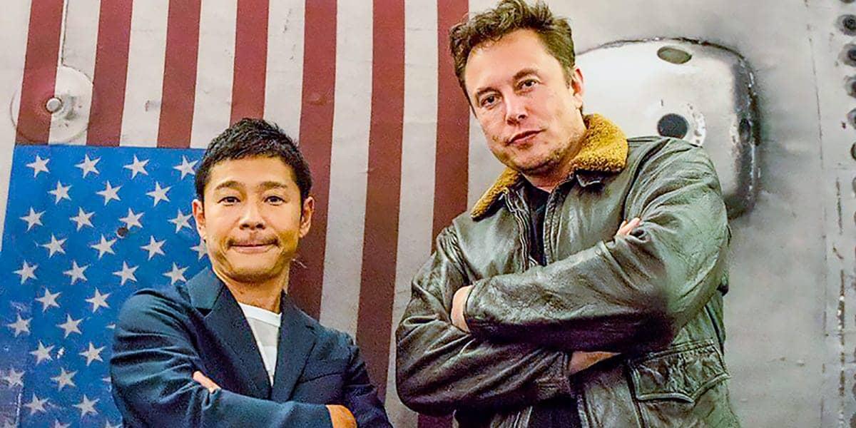 Multi milionário japonês Yusaku Maezawa com Elon Musk