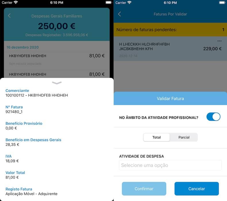 e-fatura app Interface
