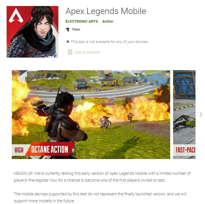 Apex Legends Mobile Google Play Store Android