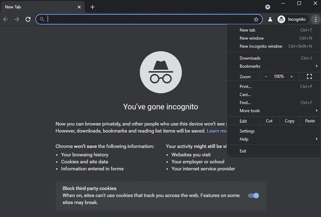 Google Chrome Modo Incognito Dark Mode