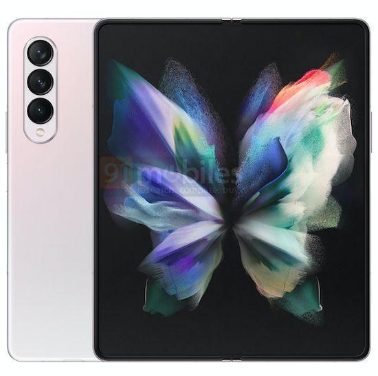 Samsung Galaxy Z Fold3 Gradiente Branco Rosa 1 cores, design, leak, Samsung, Samsung Galaxy Z Fold3, smartphone dobrável