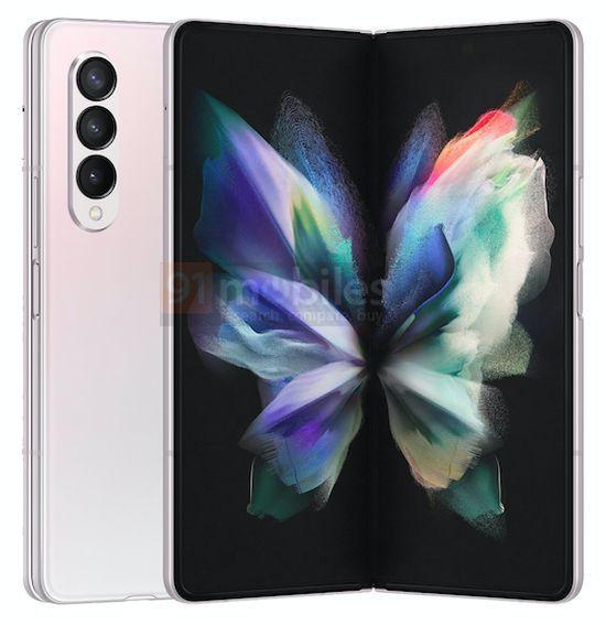 Samsung Galaxy Z Fold3 Gradiente Branco Rosa 2 cores, design, leak, Samsung, Samsung Galaxy Z Fold3, smartphone dobrável